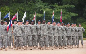 Soldiers standing in formation at graduation